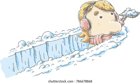 A cartoon woman with ear muffs shovels a deep paths through fresh, white snow.