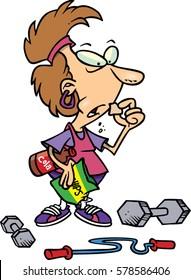 cartoon woman eating junk food instead of exercising