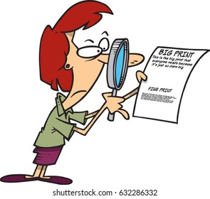 cartoon woman examining the fine print on a contract