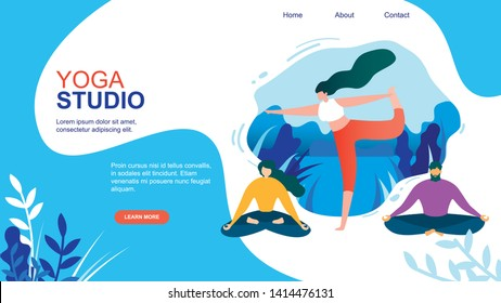 Cartoon Woman Exercise. People Meditate in Yoga Studio Vector Illustration. Man in Lotus Position. Girl Meditation Indoors Gym. Professional Instructor, Training Stretch, Relaxation Body, Health Care