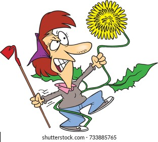 cartoon woman fighting with the weed in her garden