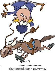 cartoon woman getting bucked off a horse