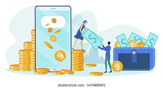 Cartoon Woman Giving Man Green Dollar Banknote. Flat Phone Screen and Wallet Full of Cash. Vector Gold Coins Illustration. Online Payment, Money Transfer and Financial Transaction. Mobile Wallet