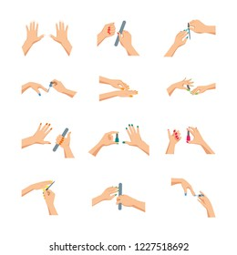 Cartoon Woman Hands Doing Manicure Sign Icon Set Female Beauty Salon Concept Element Flat Design Style. Vector illustration of Icons
