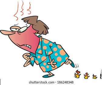 cartoon woman having hot flashes