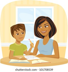 Cartoon of a woman helping a child with school work