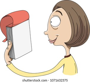 A cartoon woman holding a pad of paper and looking at a blank sheet of paper.