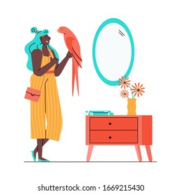 Cartoon woman holding pink parrot in her home living room