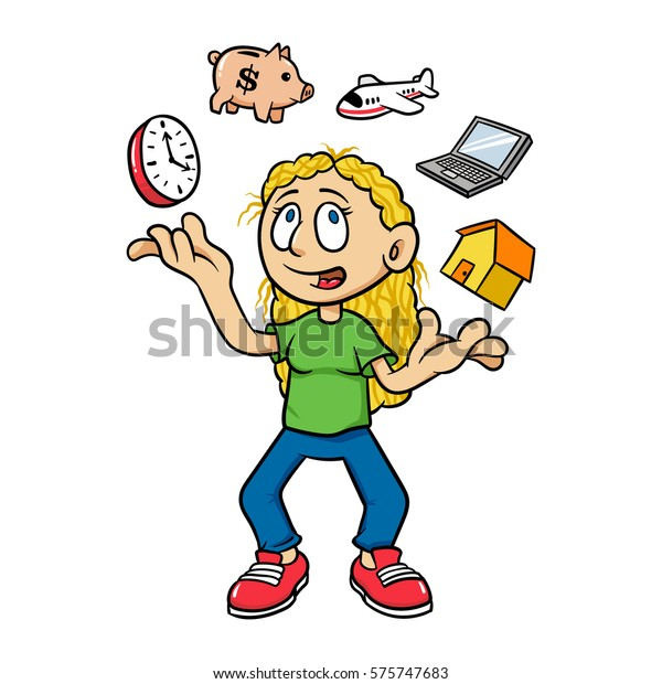 Cartoon Woman Juggling Time Management Vector Stock Vector Royalty Free 575747683