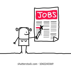 Cartoon Woman Looking for a Job