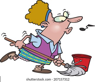 cartoon woman mopping and whistling