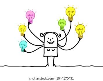 Cartoon Woman with Multi Light bulbs
