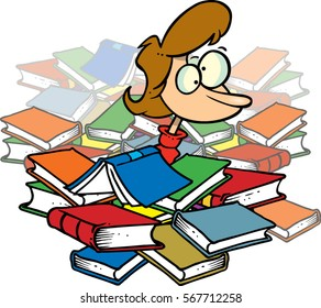 cartoon woman in a pile of books