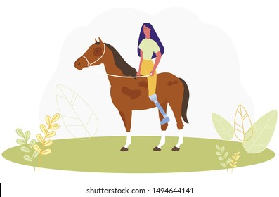 Cartoon Woman with Prosthetic Leg Ride Horse Vector Illustration. Girl with Prosthesis Horseriding. Horseback Sport Training. Paralympic Game. Disabled Rehabilitation, Handicapped Recovery Rehab