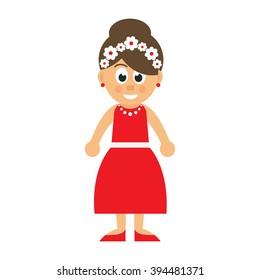 cartoon woman in red dress