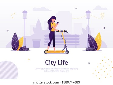 Cartoon Woman Riding Scooter Holding Mobile Phone Banner Vector Illustration. Girl with Smartphone on Vehicle. Online Ordering. Girl Moving around City. Hand Holding Gadget with Rental Application.