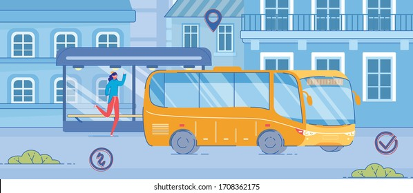 Cartoon Woman Running at Modern Glass Stop on Roadside. Girl Catching Up Yellow Bus Drive on Street. Urban Transportation Service in City. Late for Public Transport Vector Illustration