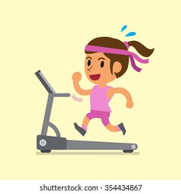 Cartoon woman running on treadmill