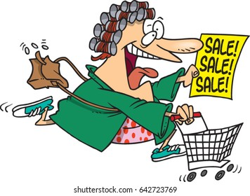 cartoon woman running to shop at a sale