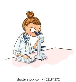 Cartoon Woman scientist is looking through a microscope. Laboratory and equipment.