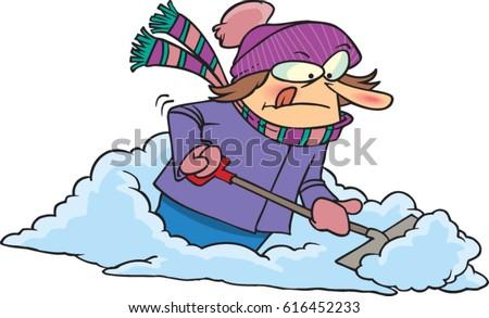 cartoon woman shoveling snow stock vector royalty free 616452233