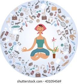 Cartoon woman sitting in yoga pose, surrounded by a cloud of stuff, EPS 8 vector illustration, no transparencies