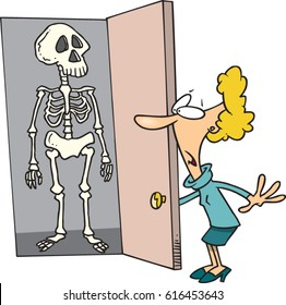 cartoon woman with skeletons in her closet