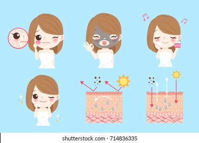 cartoon woman with skin care problem before and after