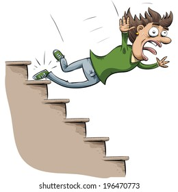 A cartoon woman trips and falls down stairs.