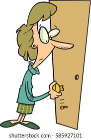 cartoon woman trying to open a door