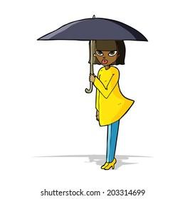 cartoon woman with umbrella