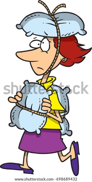 Cartoon Woman Walking Cautiously Pillows Tied Stock Vector ...