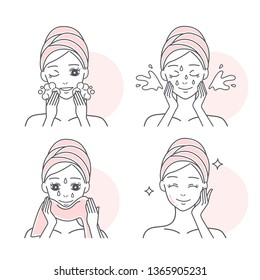 cartoon woman washing face and wiping face with towel