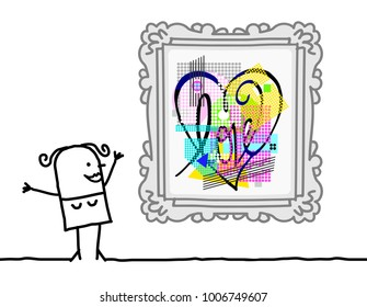 Cartoon Woman Watching a Pop Art Style Heart