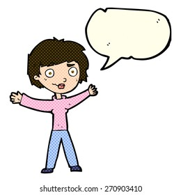 cartoon woman waving arms with speech bubble