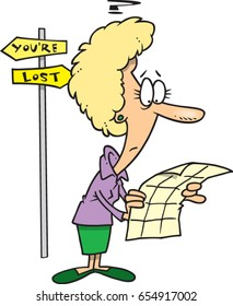 cartoon woman who is lost looking at a map