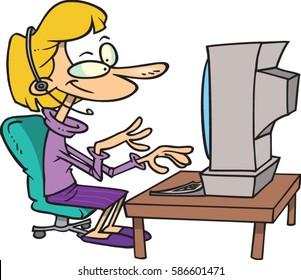 cartoon woman working at computer
