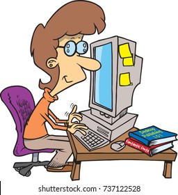 cartoon woman working on a computer at a desk