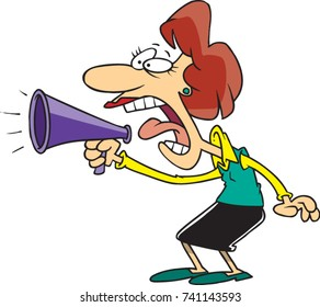 cartoon woman yelling into a megaphone