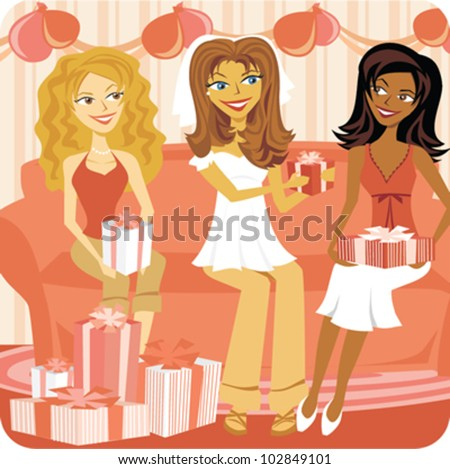 cartoon of women celebrating a bridal shower