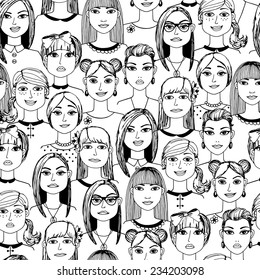 Cartoon women faces crowd doodle hand-drawn seamless pattern