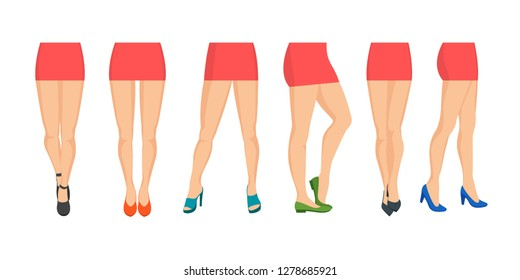 Cartoon Women Legs Icon Set Different Types Beautiful and Sexy Concept Flat Design. Vector illustration of Female Leg