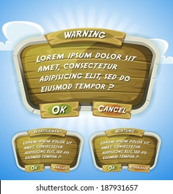 Cartoon Wood Agreement Panel - Funny cartoon design ui game wood control panel including text and buttons