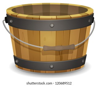 Cartoon Wood Bucket/ Illustration of a cartoon empty rural wooden bucket with handle and metal strapping