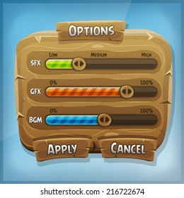 Cartoon Wood Control Panel For Ui Game/ Illustration of a funny cartoon design ui game wooden options control panel including status and level bars, for app on tablet pc, with spring blue sky