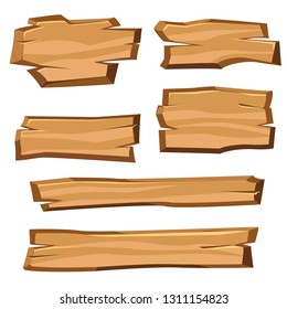 Cartoon wood planks on a white background