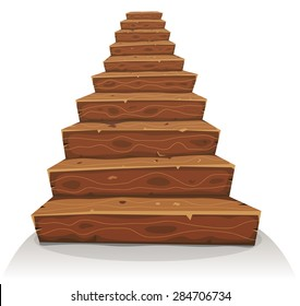 Cartoon Wood Stairs/ Illustration of a cartoon funny wooden stairway for castle or old house construction