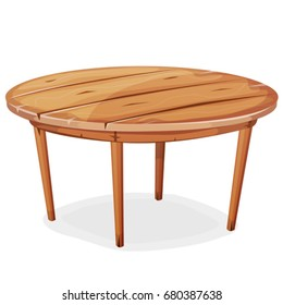 Cartoon Wood Table/ Illustration of a cartoon funny rounded wooden kitchen or garden table, isolated on white background for creation of home interior scenics