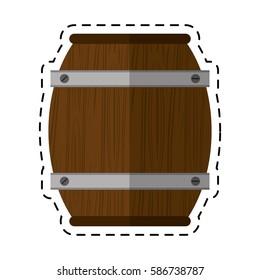 cartoon wooden barrel wine icon