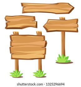Cartoon wooden boards as banners signs and pointers. Western style information